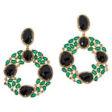 Rarities Gold-Plated Onyx, Green Agate and Zircon Dangle Earrings