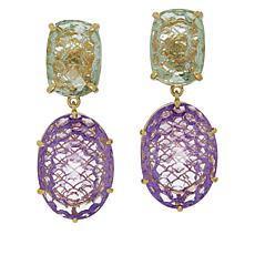 Rarities Gold-Plated Pink Amethyst and Prasiolite Drop Earrings