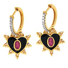 Rarities Gold-Plated Pink Tourmaline and Gemstone Heart Earrings