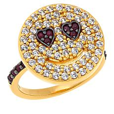 Rarities Gold-Plated Ruby and White Zircon Smiley Face Ring