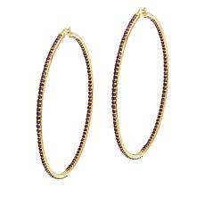 Rarities Gold-Plated Sterling Silver Amethyst Hoop Earrings