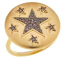 Rarities Gold-Plated Sterling Silver Diamond Star Ring