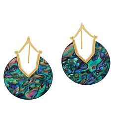 Rarities Gold-Plated Sterling Silver Notched Shell Disc Drop Earrings