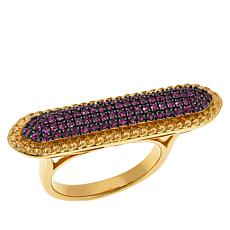Rarities  Gold-Plated Sterling Silver Ruby East/West Pavé Line Ring