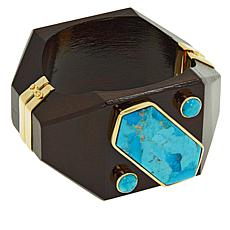 Rarities Gold-Plated Turquoise and Wood Hinged Bangle Bracelet
