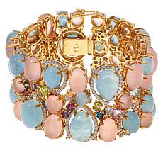 "Rarities Goldtone Milky Aqua and Multi-Gemstone 7"" Cluster Bracelet"