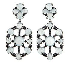 Rarities Gray Beryl and Black Spinel Hexagonal Drop Earrings
