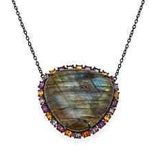 "Rarities Labradorite and Multicolored Garnet 16"" Necklace"