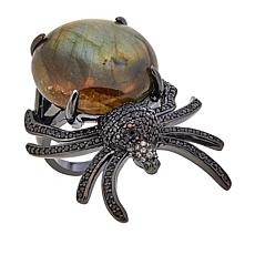 Rarities Labradorite Multigem Black Rhodium Silver Spider Ring