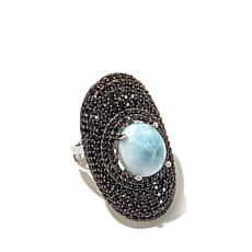 Rarities Larimar and Black Spinel Shield Ring