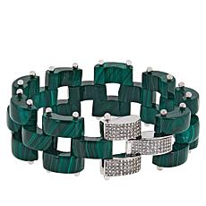 Rarities Malachite Link Bracelet with White Zircon Clasp