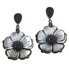 Rarities Mother-of-Pearl and Black Spinel Flower Drop Earrings