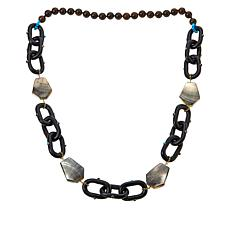 Rarities Mother-of-Pearl and Gem-Accented Wooden Oval-Link Necklace