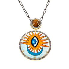 Rarities Multi-Gem Hand-Painted Disc Pendant with Chain