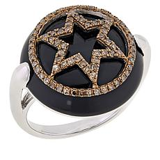 Rarities Onyx and Diamond Talisman of Saturn 6-Pointed Star Ring