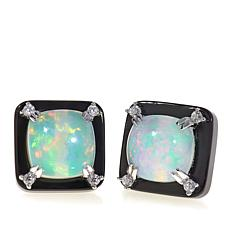 Rarities Opal, Onyx and White Zircon Square Studs