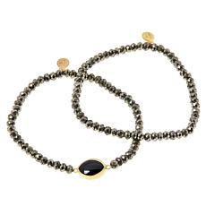 Rarities Pyrite Bead and Gemstone Stretch Bracelet - Set of 2