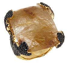 Rarities Rutilated Quartz and Black Spinel Rectangular Ring