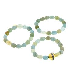 Rarities Set of 3 Multicolored Beryl Stretch Bracelets