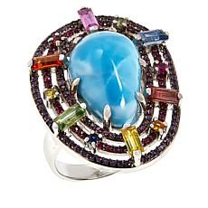 Rarities Sterling Silver Larimar and Multi-Colored Gemstones Ring