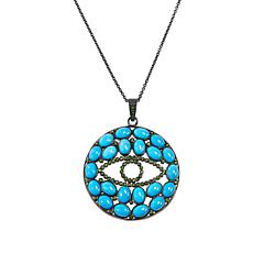 "Rarities Turquoise and Chrome Diopside Evil Eye Pendant with 16"" Chain"
