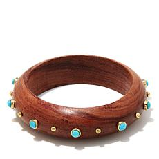 Rarities Turquoise and Vermeil Wood Wide Bracelet