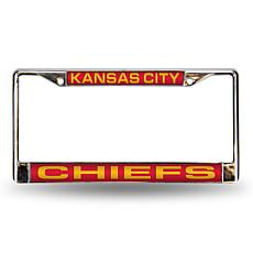 Red Laser Chrome License Plate Frame - KC. Chiefs