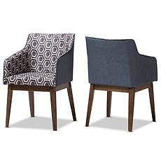 Reece Dk Blue Patterned Fabric Lounge Chair Set