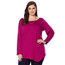 Rhonda Shear Asymmetrical Long Sleeve Tunic Top