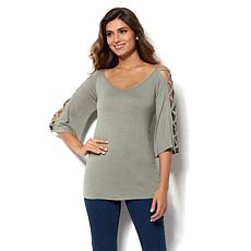 Rhonda Shear Criss-Cross 3/4-Sleeve V-Neck Top