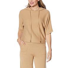 Rhonda Shear Luxe Knit Hooded Dolman-Sleeve Lounge Top