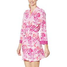 Rhonda Shear Tie Front Printed Short Robe with Lace Trim