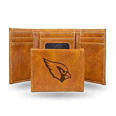 Rico Arizona Cardinals Laser-Engraved Brown Trifold Wallet