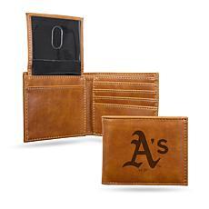 Rico Athletics Laser-Engraved Brown Billfold Wallet