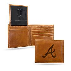 Rico Braves Laser-Engraved Brown Billfold Wallet