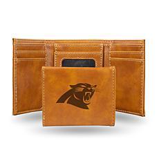 Rico Carolina Panthers Laser-Engraved Brown Trifold Wallet
