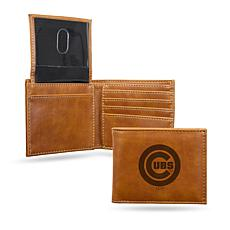Rico Cubs Laser-Engraved Brown Billfold Wallet