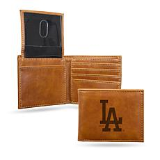 Rico Dodgers Laser-Engraved Brown Billfold Wallet