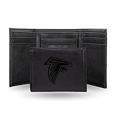 Rico Falcons Laser-Engraved Black Trifold Wallet