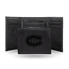 Rico Laser-Engraved Black Tri-fold Wallet - Canadiens