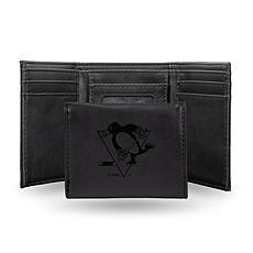 Rico Laser-Engraved Black Tri-fold Wallet - Penguins