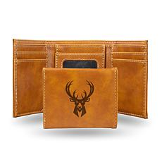 Rico Laser-Engraved Brown Tri-fold Wallet - Bucks