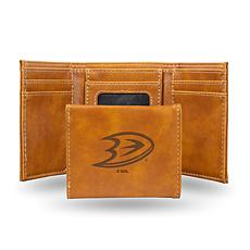 Rico Laser-Engraved Brown Tri-fold Wallet - Ducks