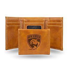 Rico Laser-Engraved Brown Tri-fold Wallet - FL Panthers