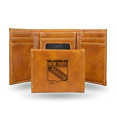 Rico Laser-Engraved Brown Tri-fold Wallet - NY Rangers