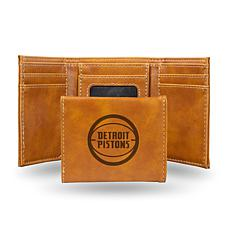 Rico Laser-Engraved Brown Tri-fold Wallet - Pistons