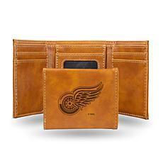 Rico Laser-Engraved Brown Tri-fold Wallet - Red Wings