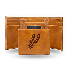 Rico Laser-Engraved Brown Tri-fold Wallet - Spurs