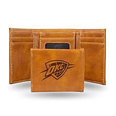 Rico Laser-Engraved Brown Tri-fold Wallet - Thunder