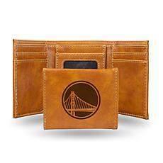 Rico Laser-Engraved Brown Tri-fold Wallet - Warriors